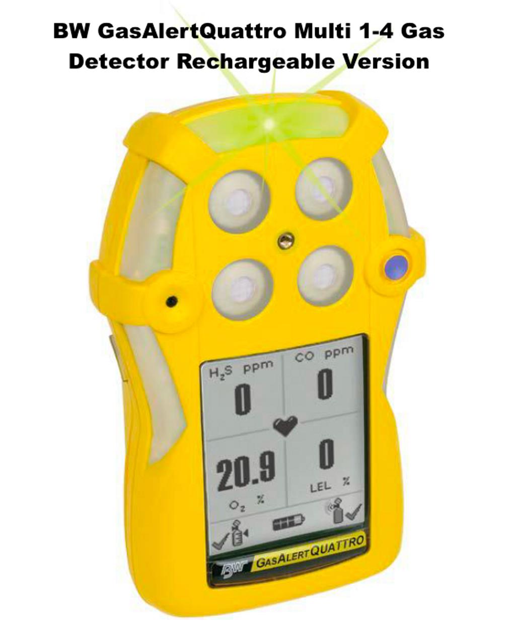 O2 Lel H2S Co Rechargeble Détecteur de gaz BW gasalert Quattro