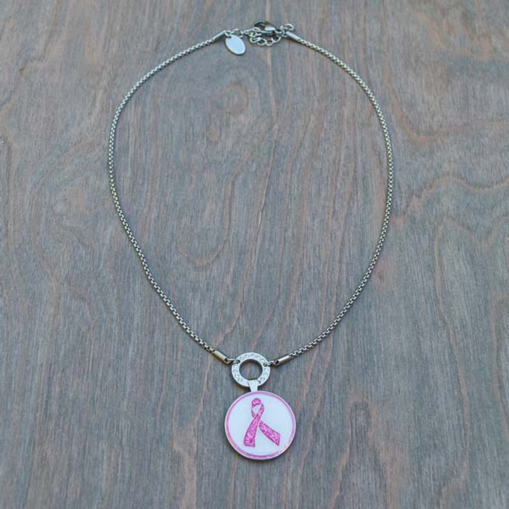 Bella's Basic Base Necklace is part of the Avalee's Glamour Magnetic Collection. Shown with Breast Cancer Awareness Pink Ribbon magnetic charm.
