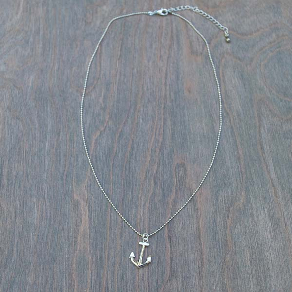 Angela's Small silver toned Anchor Necklace on a delicate silver chain.