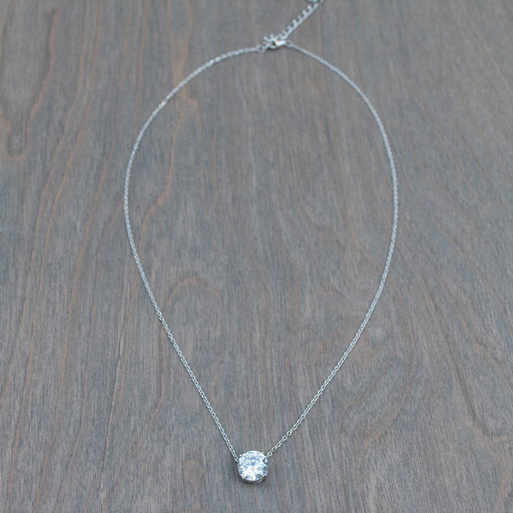 Pia's Princess Sterling Silver Solitaire Necklace
