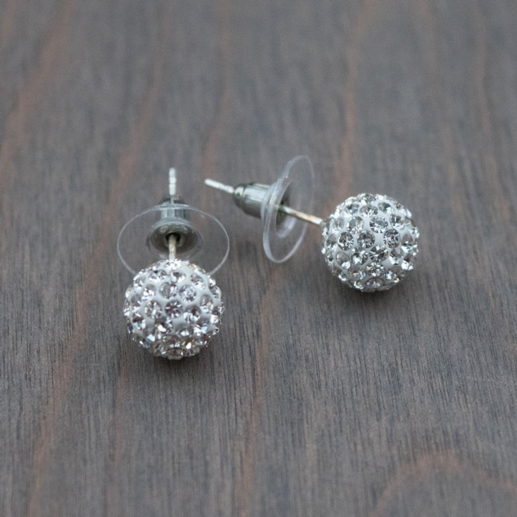 Wanda's White Disco Ball Earrings