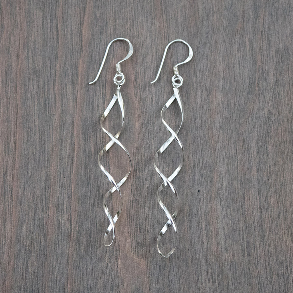 Stacy's Sterling Silver Spiral Earrings, 2 inch long delicate spirals on sterling hooks.