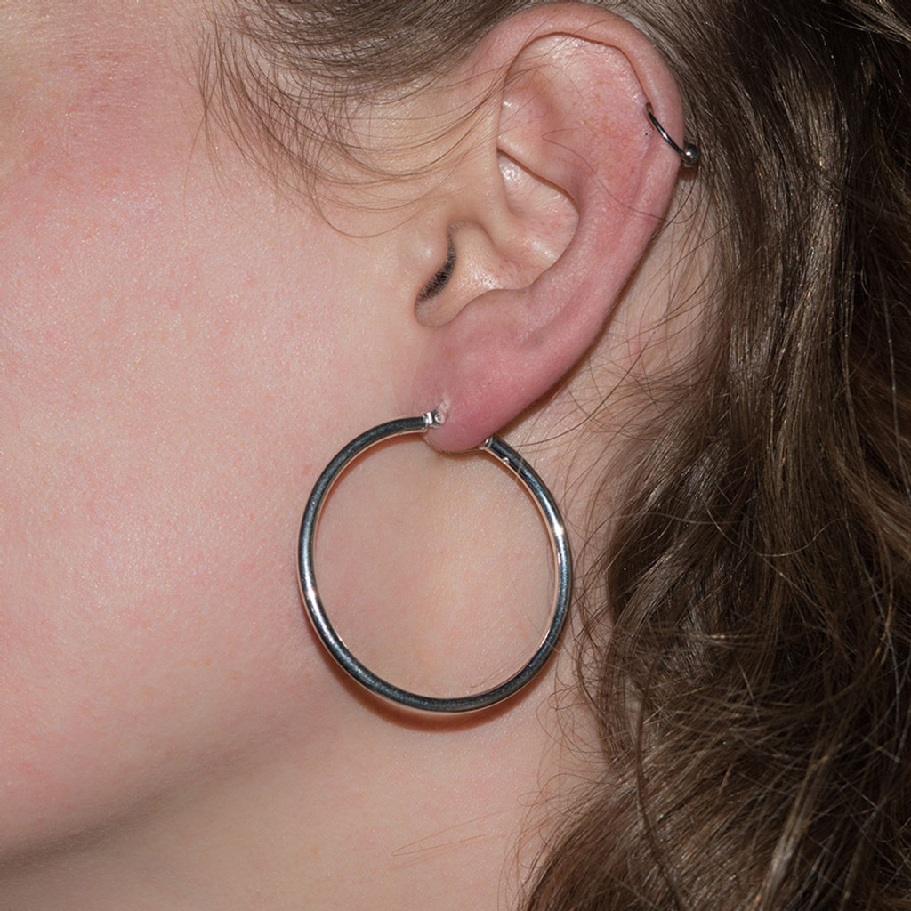 Heather's Large Sterling Silver Hoops are large hoop earrings
