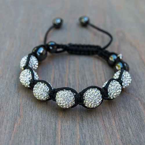 Daisy's White Disco Bracelet features crystal encrusted disco ball beads and black nylon band.