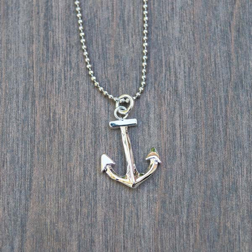 Angela's Small Anchor Necklace is a silver plated anchor charm on a tiny ball chain necklace.