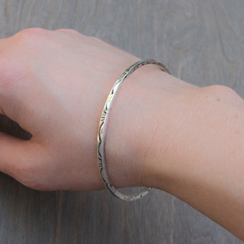 Cathy's Carved Sterling Silver Bangle