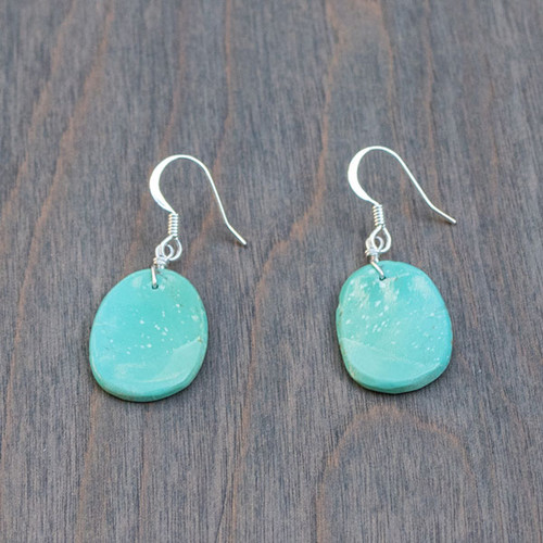 Tara's Turquoise and Sterling Earrings are handmade from beautiful green turquoise on sterling silver ear wires.