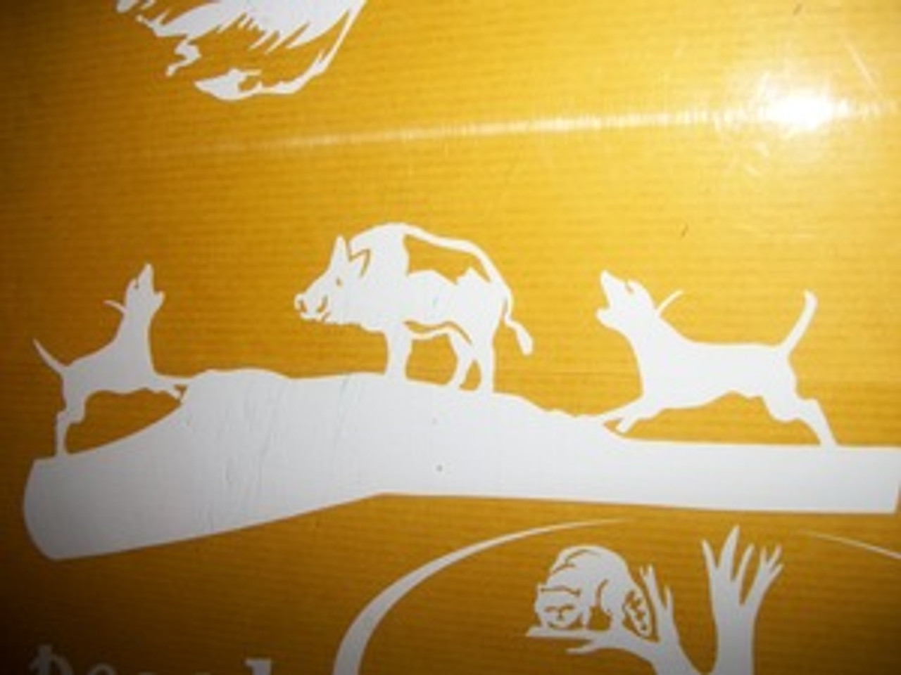 Hog bayed with 2 dogs window decal