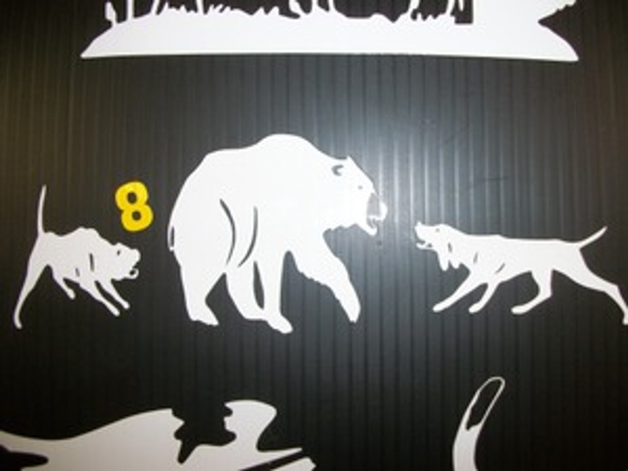 Bayed bear with 2 dogs window decal