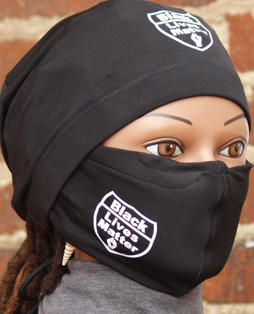 "Black Knit fabric. Both the cap and mask are Imprinted with the phrase ""Black Lives Matter"" and thre is a Black Power Fist Imprinted in white. Arrives with the standard 20 inch head circumference size. Mask is washable and adjustable.  Looking for a cap that stays on your head even when you sleep? The Stay On Pony Cap is the choice for you. It ties on securely, while putting your hair in a ponytail as well. It looks and feels amazing. Simply place the cap on your head with the elastic going across the front of the head as usual. Then bring the draw strings along the bottom of your hair in the back to create a ponytail. Tie it off to your level of comfort. (It's just like tying your shoe string) Ships priority mail to addresses within the U.S"