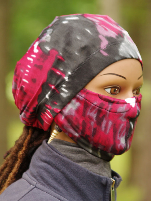 Made of a knit fabric in the standard 20 inch circumference around the head. Arrives complete with stay on ponytail cap and matching face covering mask.  If you have been Looking for a cap that stays on your head then The Stay On Pony Cap is the choice for you. It ties on securely, while putting your hair in a ponytail as well. It looks and feels amazing. Simply place the cap on your head with the elastic going across the front of the head as usual. Then bring the draw strings along the bottom of your hair in the back to create a ponytail. Tie it off to your level of comfort. (It's just like tying your shoe string)