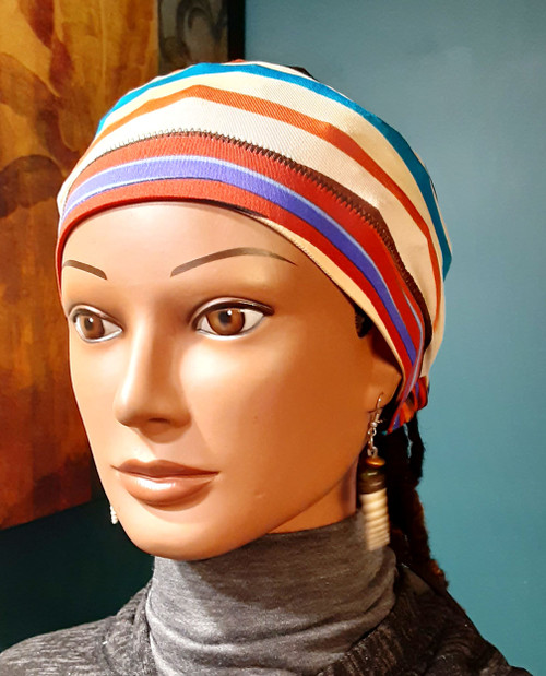 Colorful Stripe - Stay on Ponytail Cap/Scrub Cap for locs standard 20 inch circumference