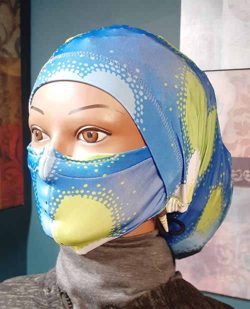 Print placement may vary.  (20 inch head circumference)  Knit fabric.  (2 piece set) Arrives complete with face covering mask as shown.  The face mask is adjustable and machine washable.  This means you can wash and wear your mask over and over. Please Note: These masks are not designed to be used in a medical setting.  The stay on soc is closed on the end.   If you have been seeking a cap that stays on your head, your quest is over. The secure tie feature ensures it stays on.   If you are thinking, that is amazing..you should know it's also comfortable too. Best of all you can tie it off based on what feels comfortable for you. (standard 20 inch circumference around the head) Ships priority mail to addresses in the U.S.