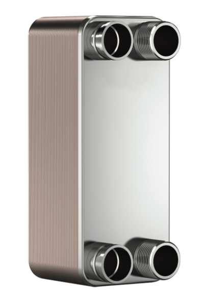 """TB12MT-20 Taco Brazed Plate Heat Exchanger 1-1/4"""" MPT 5"""" x 12"""" Copper 316L Stainless 20"""