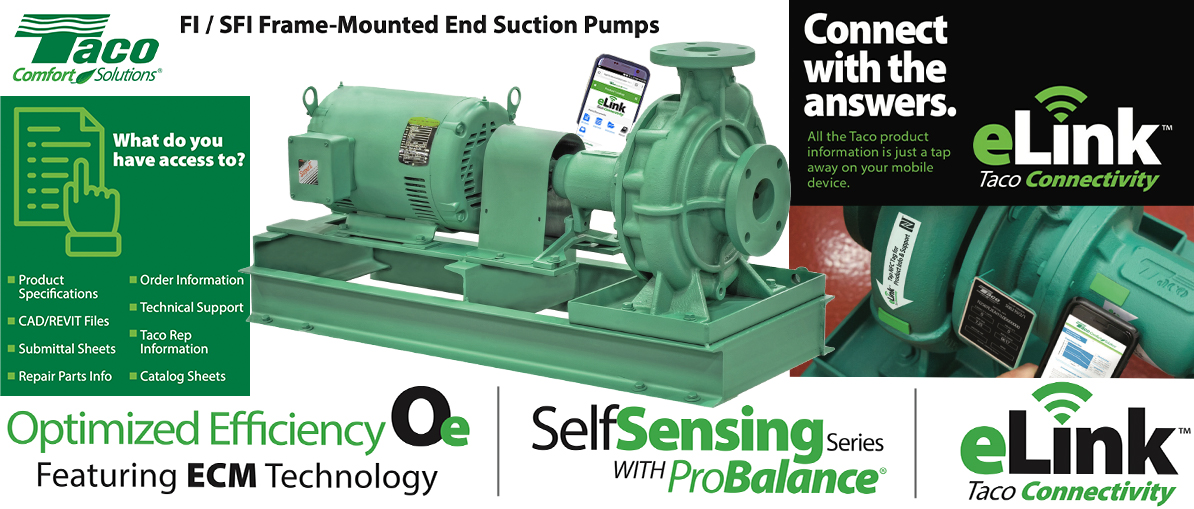Taco FI / SFI end suction pumps with e-link