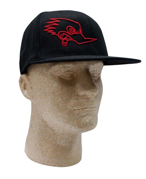 Mr. Horsepower Red Outline Flat Bill FlexFit Black Hat