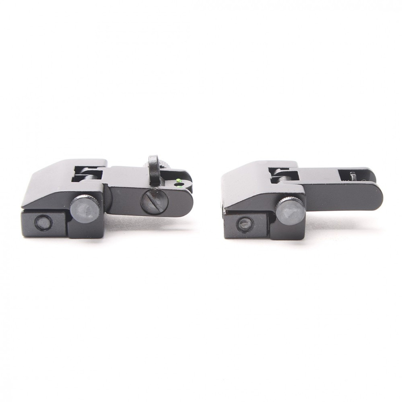 Aluminum Front and Rear Flip Up Sights Picatinny Weaver Red Green Fiber Optic Dot