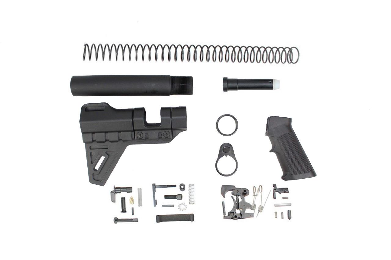 Zaviar Trinity Breach Brace Lower Build Kit / Lower Parts Kit - .223/5.56 Black Trigger and Hammer