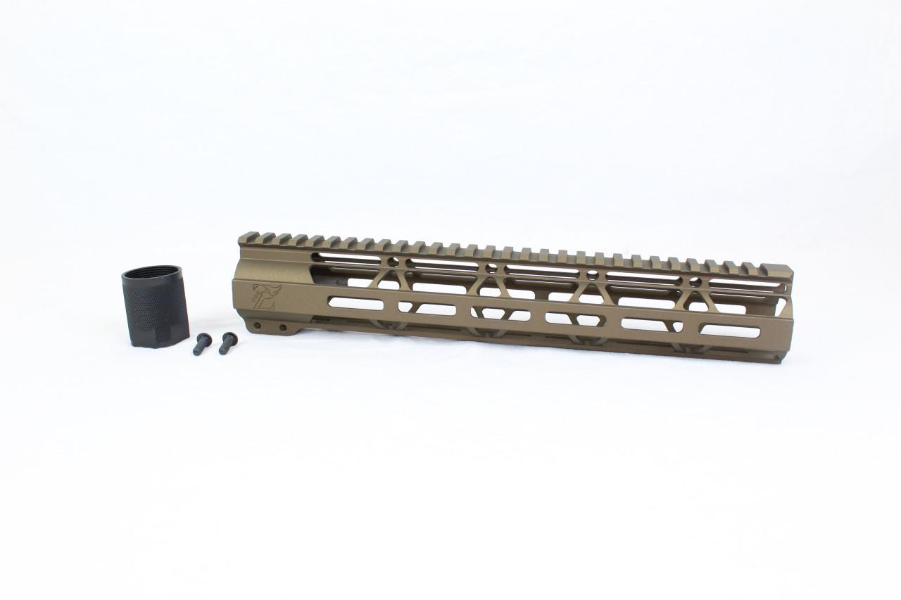 "ZAVIAR BURNT BRONZE CERAKOTED 12"" MLOK Free-Float Handguard AR-15"