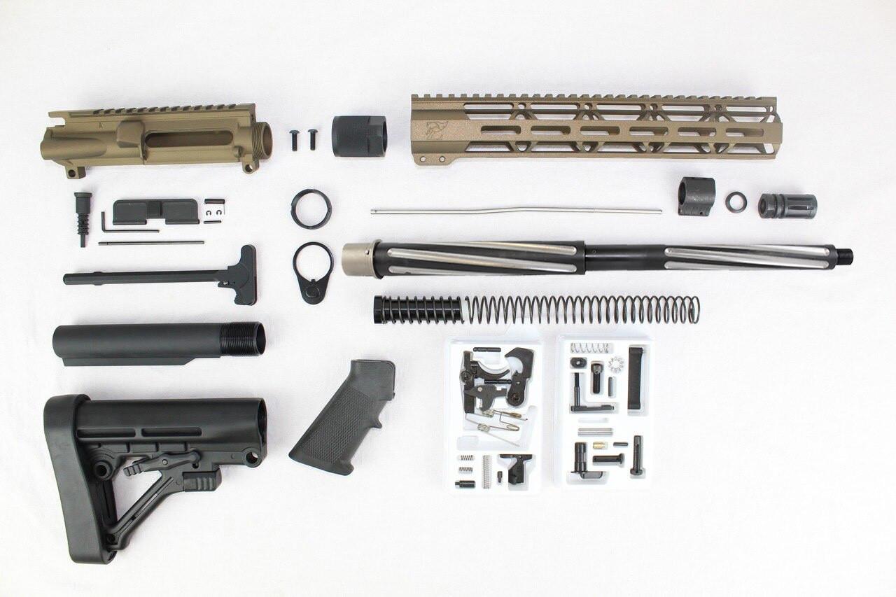 "7.62 x 39 'Wolverine Series' Burnt Bronze 16"" Bear Claw Builder Kit / 1:10 Twist / 12"" MLOK Handguard"