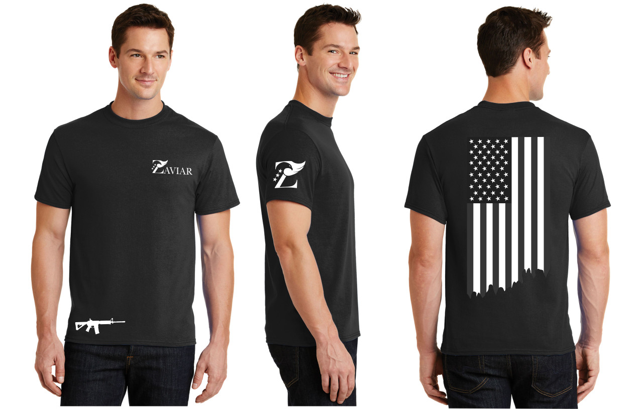 ZAVIAR Black American Flag Shirt