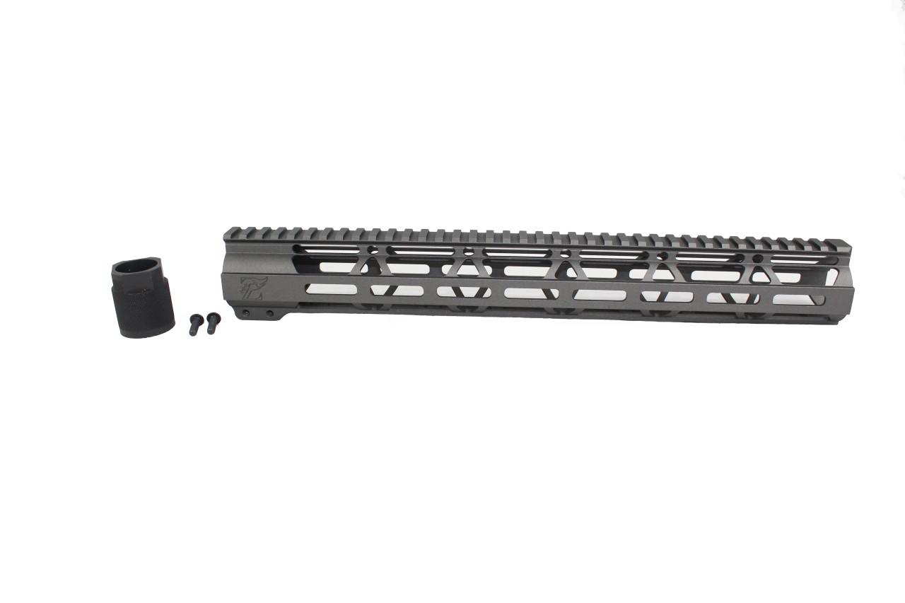"ZAVIAR TUNGSTEN GREY CERAKOTED 15"" MLOK Free-Float Handguard AR-15"