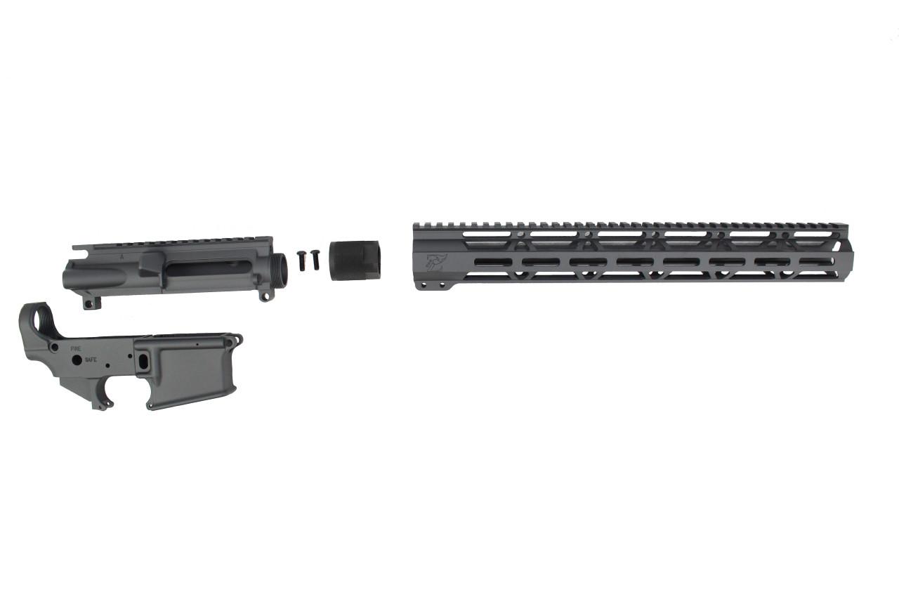 "Sniper Grey CERAKOTE SET - UPPER RECEIVER / STRIPPED LOWER RECEIVER / 15"" MLOK HANDGUARD"