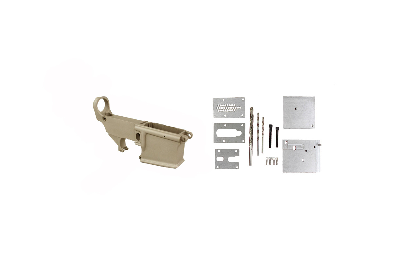 Magpul FDE 80% Lower Receiver AR15 Forged 7075-T6 / 80% Lower Jig Kit Combo