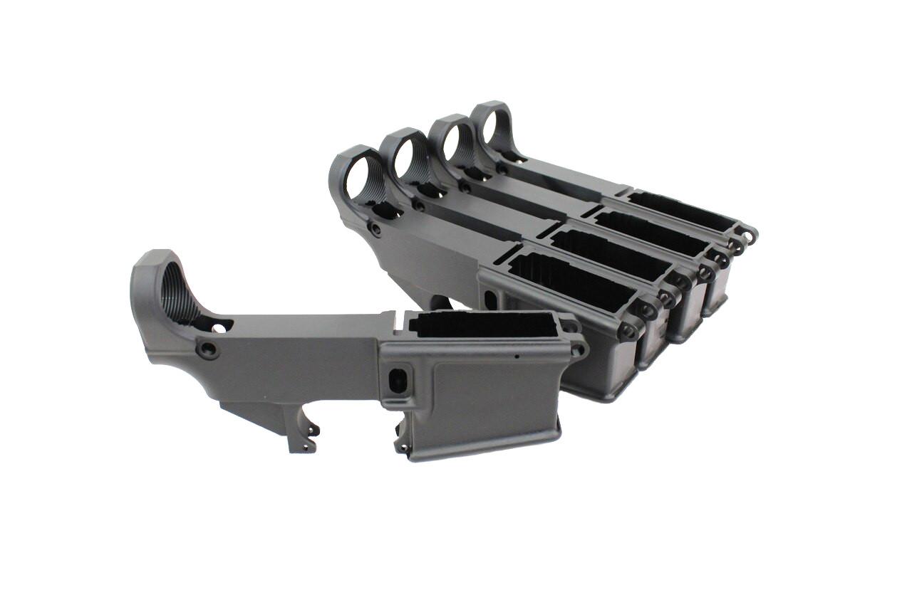 AR-15 Black Cerakote 80% Lower Receiver - Bulk 5 Pack