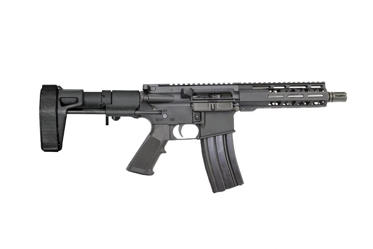 "5.56 Nato 'Operator Series' 7.5"" Stainless Steel Complete Pistol / 1:7 Twist / 7"" MLOK Handguard / SB PDW Brace"