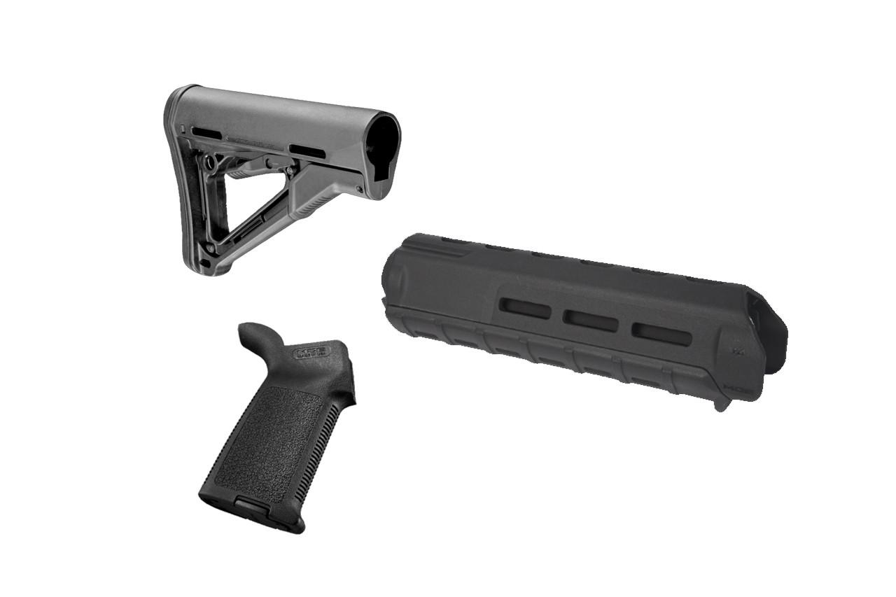 Magpul AR-15/M4 Combo Kit - MOE Grip, Mid Length M Lok with CTR Stock