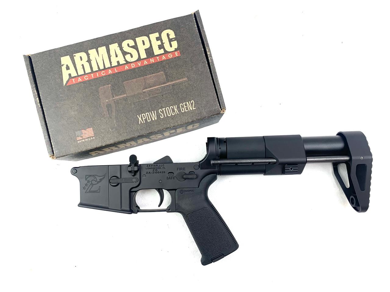 Zaviar Firearms Ar15 Lower Complete with Arma Spec XPDW Stock