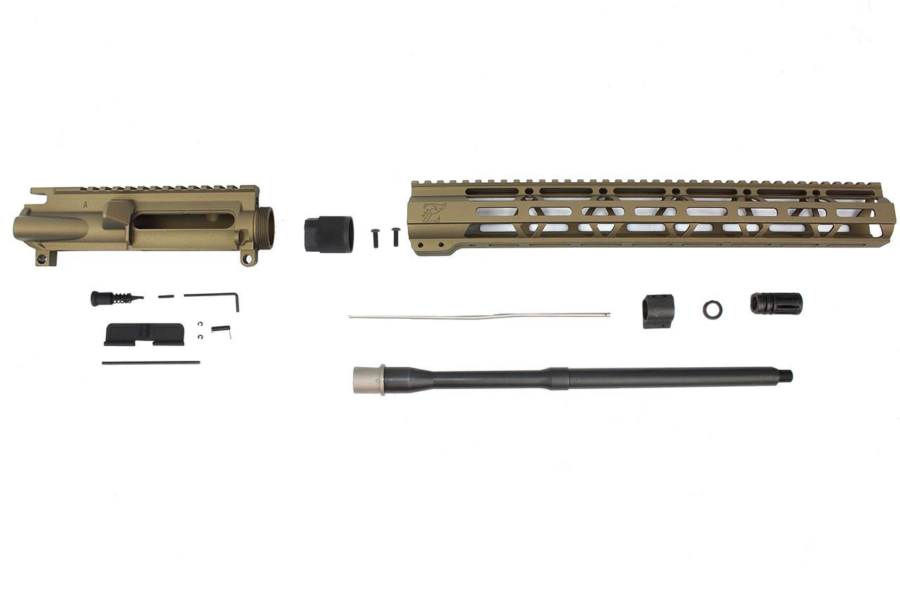 "Zaviar Firearms 5.56 Nato 'Operator Series' Burnt Bronze 16"" Nitride Government Upper Kit / 1:8 Twist / 15"" MLOK"