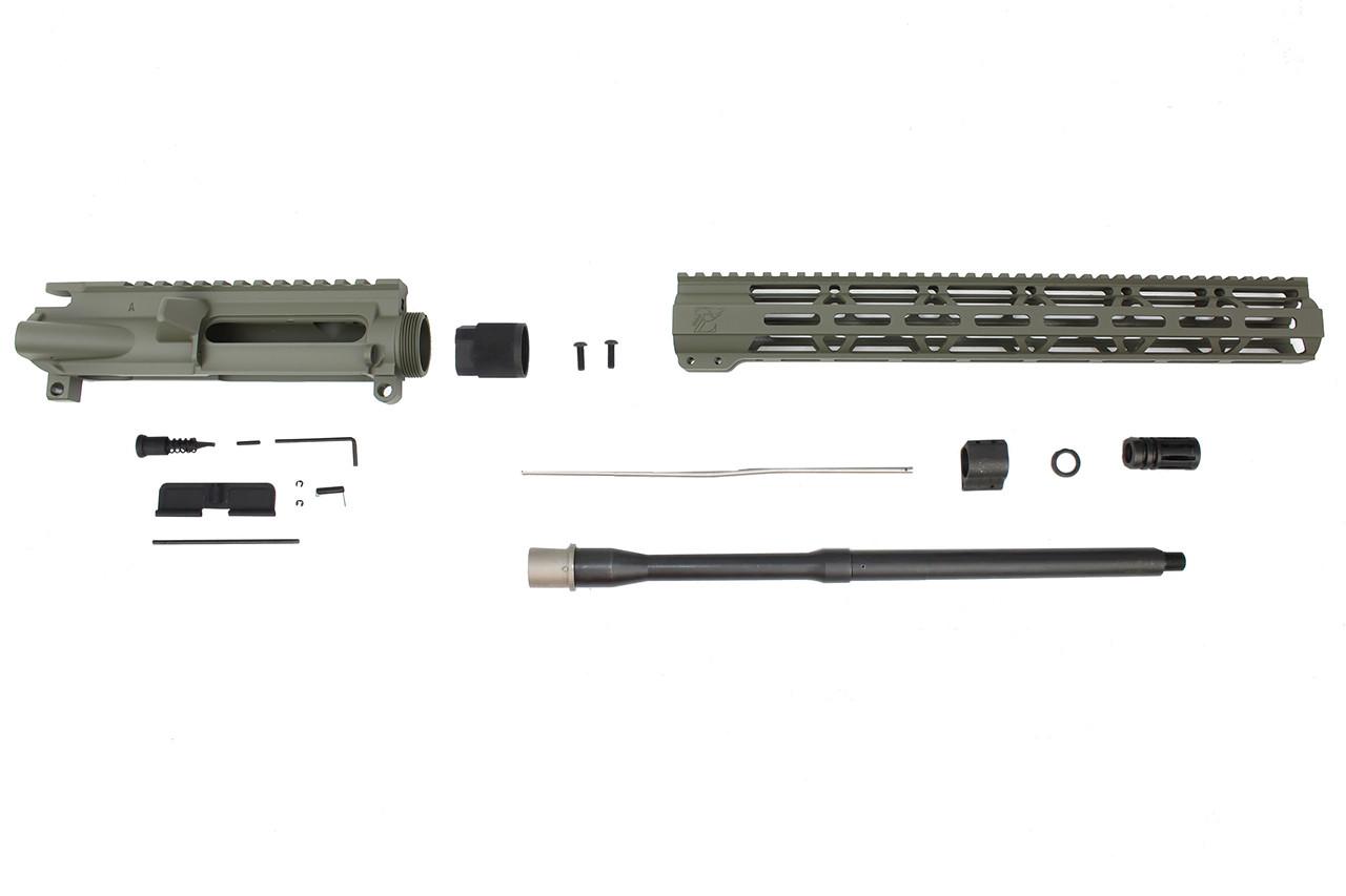 "Zaviar Firearms 5.56 Nato 'Operator Series' OD Green 16"" Nitride Government Upper Kit / 1:8 Twist / 15"" MLOK"