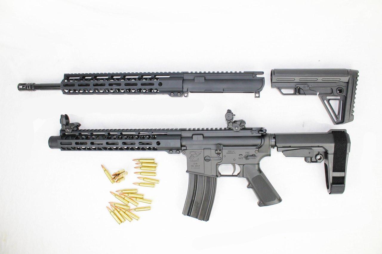 "ZAVIAR .223 WYLDE OPERATOR SERIES TWIN GUN SET (PISTOL/CARBINE) 16"" & 10.5"" AR-15 PAIRED WITH ZAVIAR AR-15 LOWER + 30RD MAGAZINE (INCLUDES FLIP UP SIGHTS)"