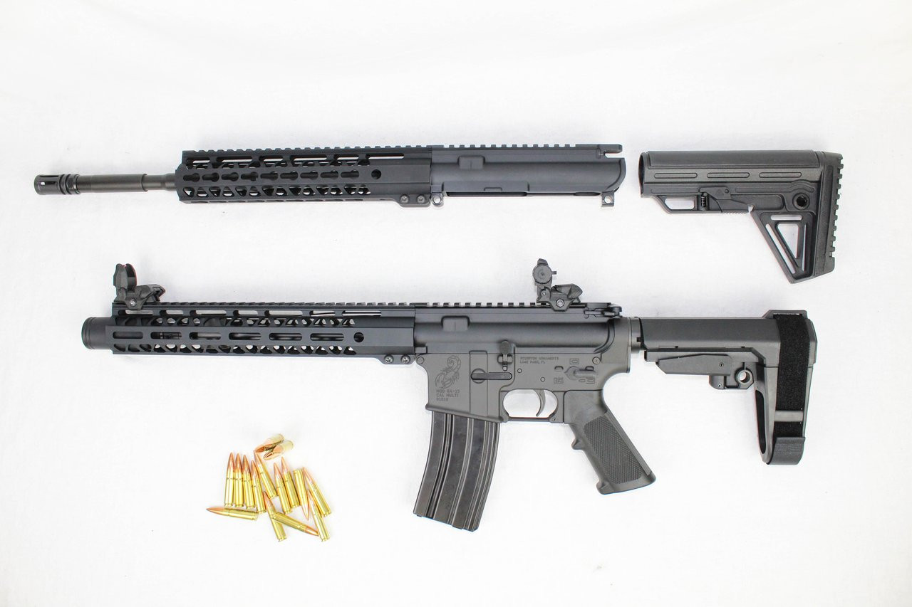 """ZAVIAR 300AAC BLACKOUT NATO OPERATOR SERIES TWIN GUN SET (PISTOL/CARBINE) 16"""" & 10.5"""" AR-15 PAIRED WITH 5.56 LOWER + 30RD MAGAZINE (INCLUDES FLIP UP SIGHTS)"""