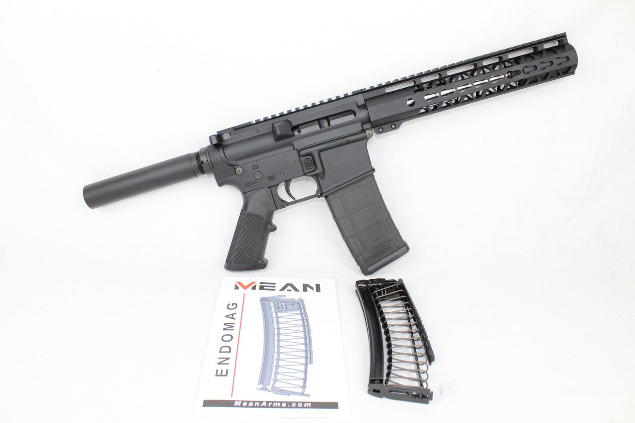 "AR9 CONVERTED ZAVIAR STINGER SERIES COMPLETE PISTOL 7.5"" 9mm 1/10 STAINLESS STEEL 10"" RAIL (PAIRED WITH 5.56 LOWER + 9MM CONVERSION MAGAZINE)"
