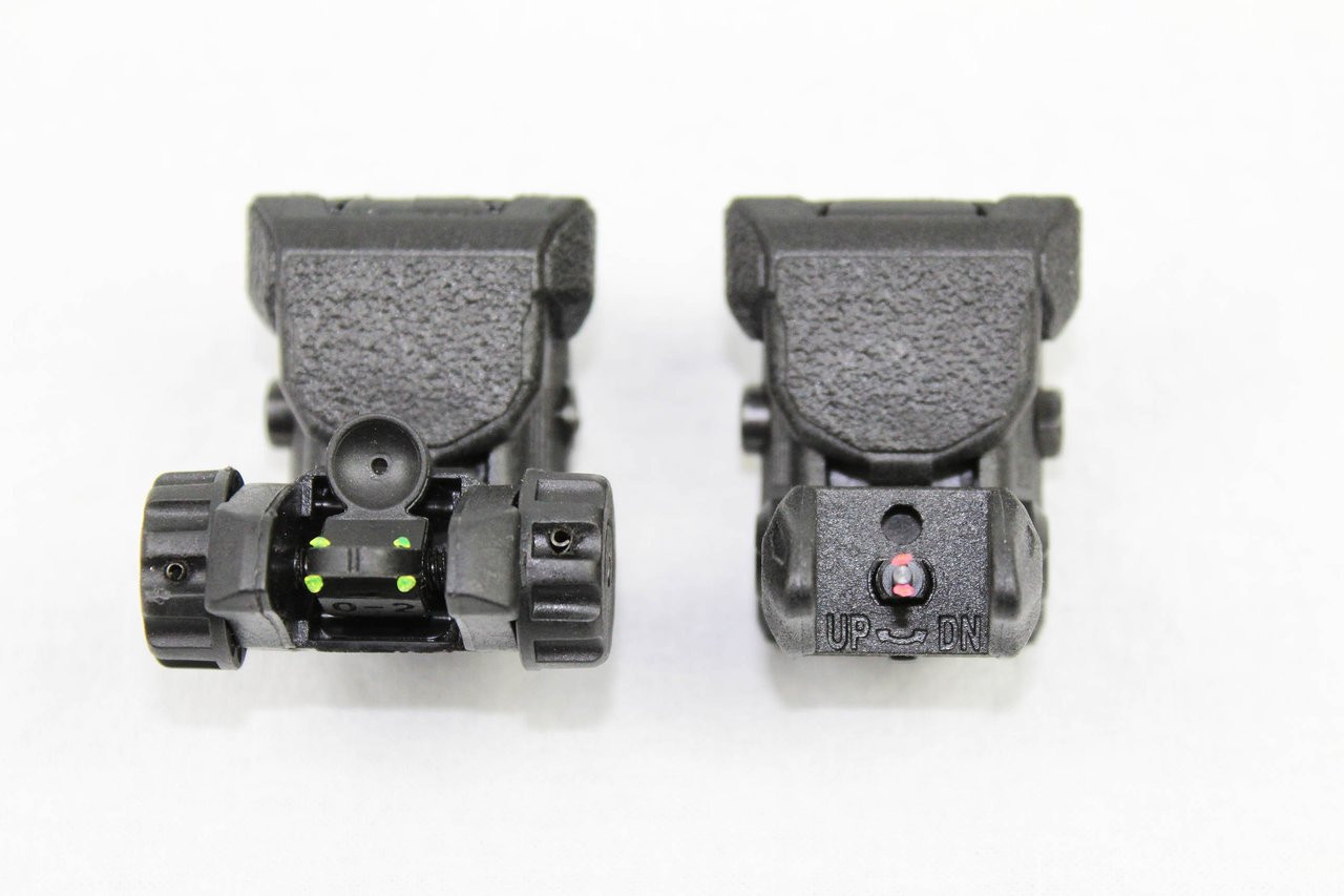 Polymer Front and Rear Flip Up Sights Picatinny Weaver Red Green Fiber Optic Dot