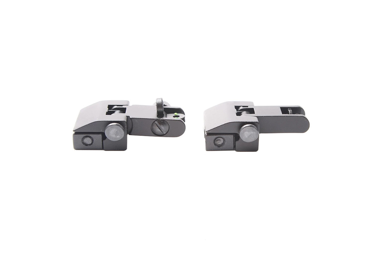 Aluminum Front and Rear Flip Up Sights Picatinny Weaver Red/Green Fiber Optic Dot