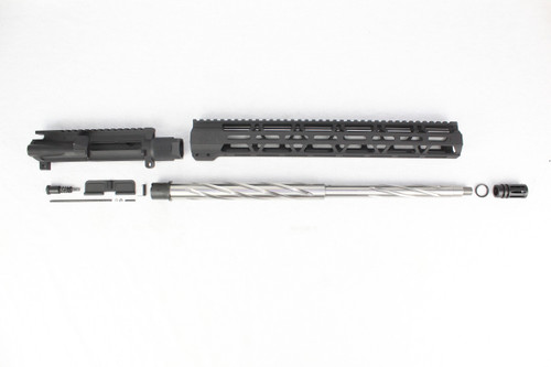 "ZAVIAR 18"" .223 WYLDE STAINLESS STEEL SPIRAL FLUTED UPPER KIT / 1:8 TWIST / 15"" MLOK HANDGUARD"