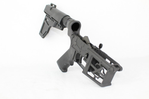 ZAVIAR BLACK CERAKOTED SKELETONIZED COMPLETE LOWER RECEIVER WITH KAK BRACE