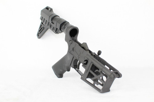 ZAVIAR BLACK CERAKOTED SKELETONIZED COMPLETE LOWER RECEIVER WITH TRINITY BRACE