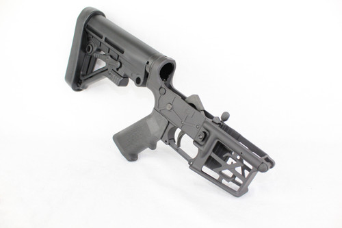 ZAVIAR BLACK CERAKOTED SKELETONIZED COMPLETE LOWER RECEIVER WITH PREDATOR BRACE