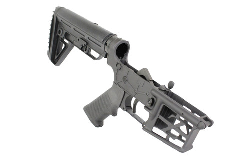 AR-15 Black Cerakote Complete Skeletonized Lower Receiver with Alpha Stock