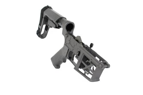 AR-15 Black Cerakote Complete Skeletonized Lower Receiver with SBA3 Brace