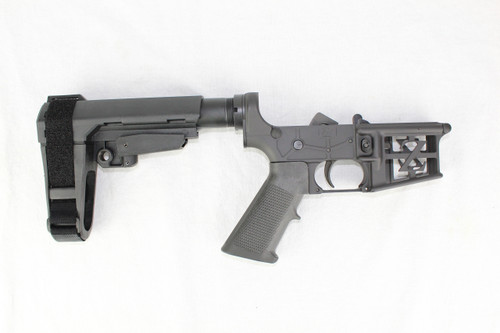 ZAVIAR BLACK CERAKOTED SKELETONIZED COMPLETE LOWER RECEIVER WITH SBA3 BRACE