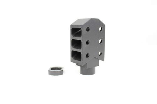 LONG BARRETT STYLE MUZZLE BRAKE WITH JAM NUT 1/2x28 THREADED