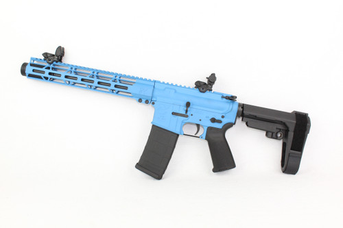 "ZAVIAR 9MM 10.5"" NITRIDE / SKY BLUE CERAKOTED / MAGPUL GRIP / SBA3 BRACE / FLIP UP SIGHTS / 12"" MLOK HANDGUARD"