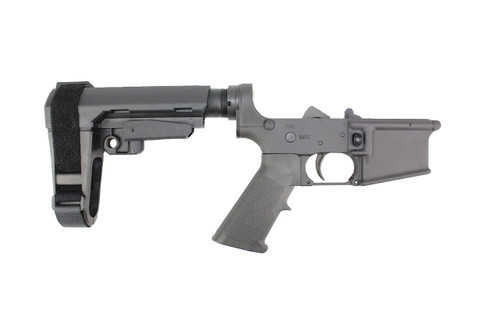 ZAVIAR BLACK CERAKOTED COMPLETE LOWER RECEIVER WITH SBA3 BRACE