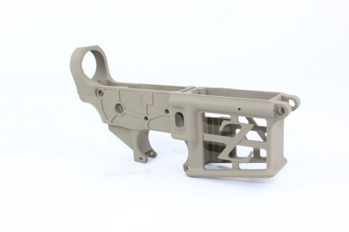 ZAVIAR FDE CERAKOTED SKELETONIZED MIL-SPEC AR15 Stripped Lower Receiver
